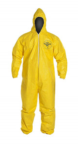 DuPont™ Tychem® 2000 Coverall. Standard Fit Hood. Elastic Wrists and Ankles. Serged Seams.