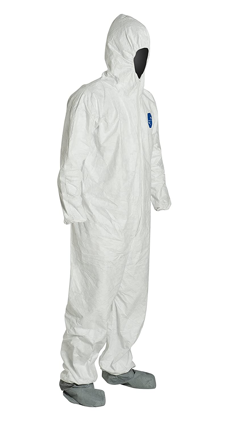 DuPont Tyvek Protective Coverall with Hood and Boots, Disposable, Elastic Cuff, White