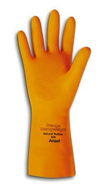 Ansell, Orange Cotton Flock Lined 29 mil Latex And Rubber Chemical Resistant Gloves