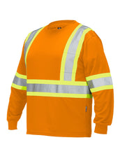 Load image into Gallery viewer, Hi Vis Crew Neck Long Sleeve Safety Tee with Chest Pocket