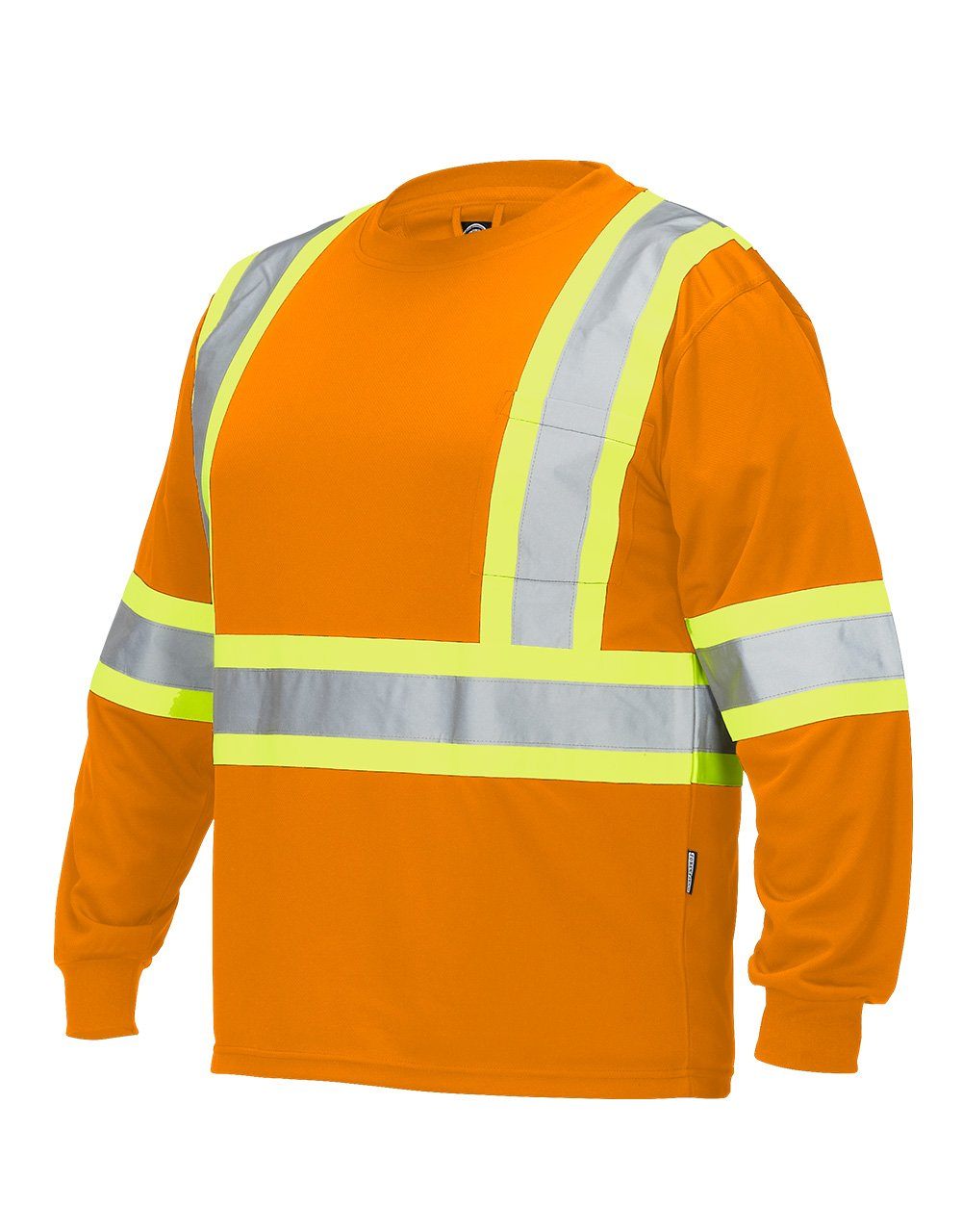 Hi Vis Crew Neck Long Sleeve Safety Tee with Chest Pocket