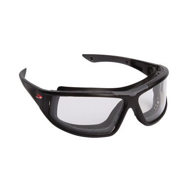 Full Frame Safety Glasses with Black Frame, Clear Lens, Foam Padding and 4A Coating
