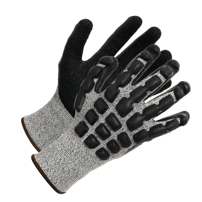 Backhand, Cut Resistant Gloves HPPE Composite Liner with Wrinkle Latex Coating.