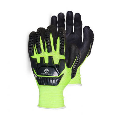 Hi-Viz Anti-Impact Glove Made With Micropore Nitrile Grip - Large