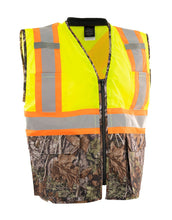 Load image into Gallery viewer, Hi Vis Camo Traffic Safety Vest with Zipper Front, Tricot Polyester, 3 Sizes