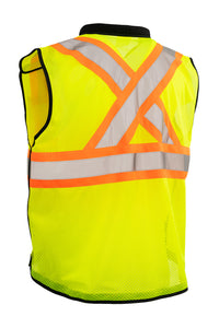 Zip-Up Hi Vis Traffic Safety Vest, 5 Point Tear-Away