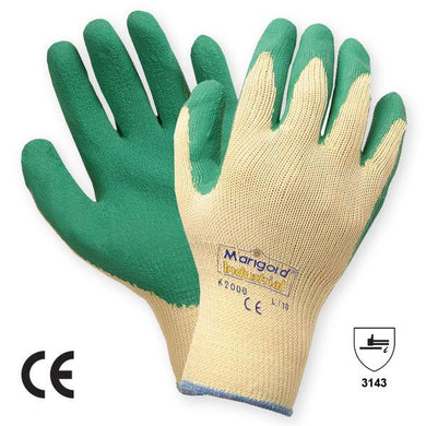 Marigold, Seamless knitted glove, Palm Coated Latex