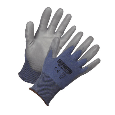 Blue HPPE Level 3 Cut Resistant Gloves, Polyurethane Coated - Hi Vis Safety