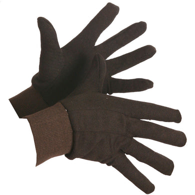 Brown Jersey Cotton Knitwrist Work Gloves - Hi Vis Safety