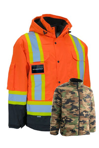 Hi Vis Winter Safety Parka with Removable Down Insulated Camouflage Nylon Puffer Jacket