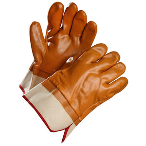 Chemical Resistant Gloves, Brown PVC Coated, Fleece Lined with Safety Cuff - Hi Vis Safety