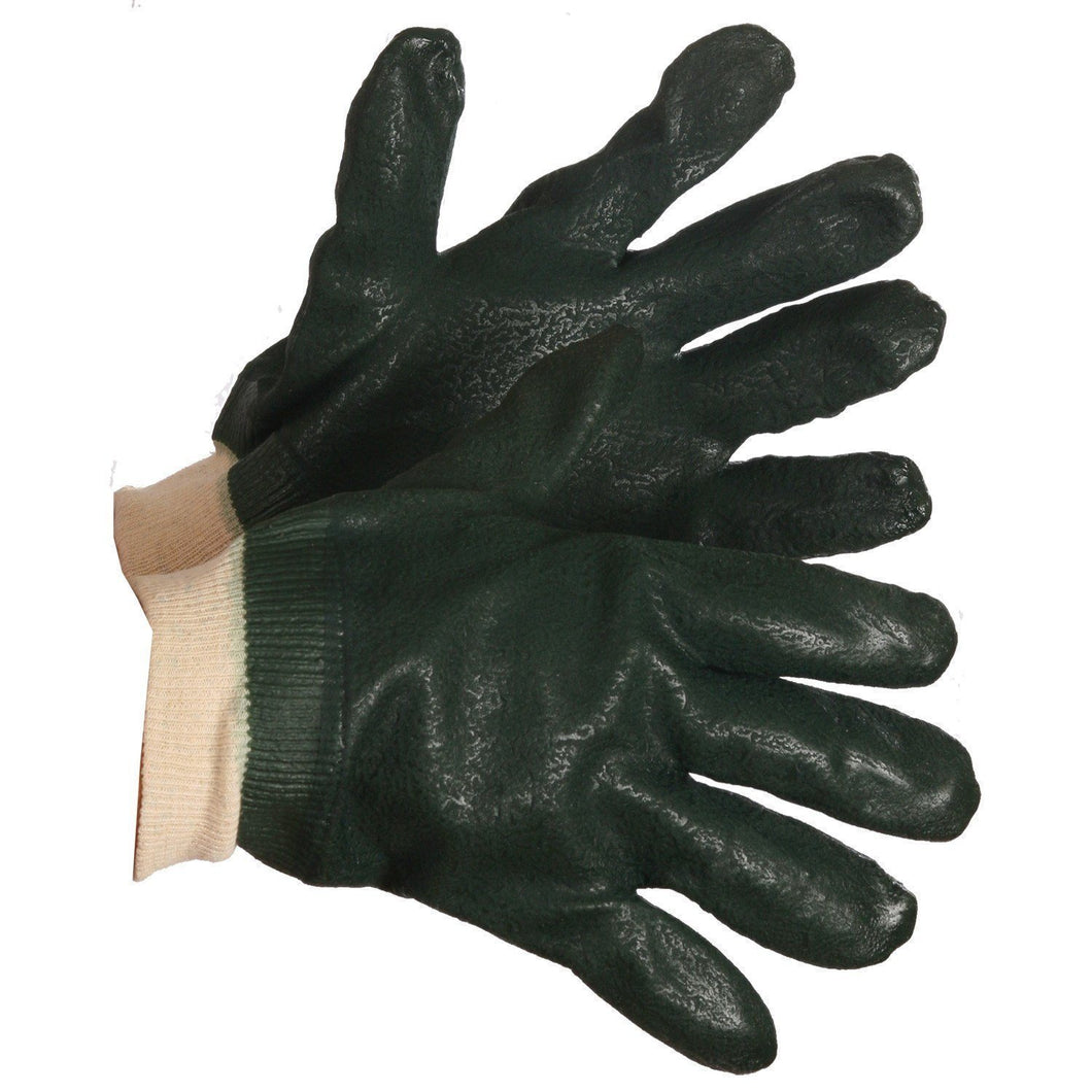 Chemical Resistant Gloves, Green PVC, Knitwrist - Hi Vis Safety