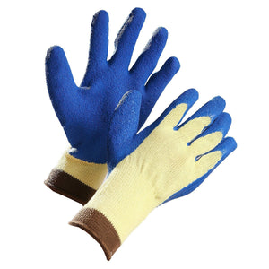 Cut Resistant Glove, Aramid Fibre Palm Coated with Blue Crinkle Latex - Hi Vis Safety