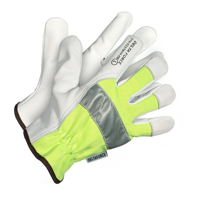 Delta Force Hi-Visibility Goatskin Grain Leather Driver's Gloves - Hi Vis Safety