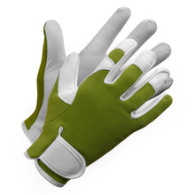 "Load image into Gallery viewer, ""Fieldwork Ladies Garden Gloves"" Leather Precision Fit - Hi Vis Safety"