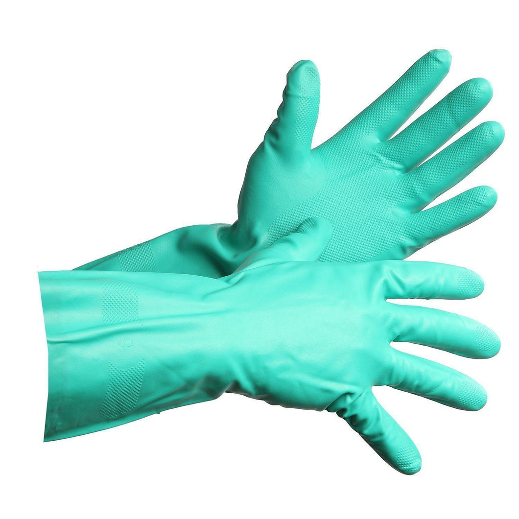 Flocklined Nitrile Dishwashing Style Gloves - Hi Vis Safety