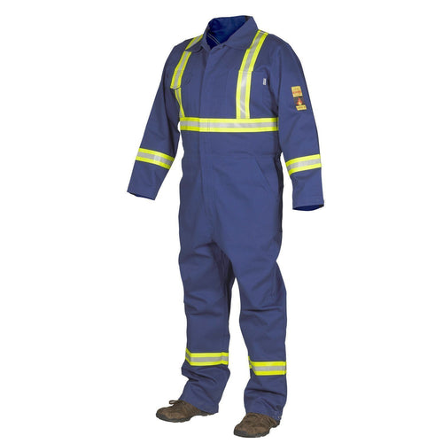 FR Treated 100% Cotton Coverall with Reflective Tape - Hi Vis Safety