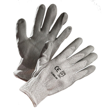Grey HPPE Cut Resistant Glove, Polyurethane Palm Coated - Hi Vis Safety