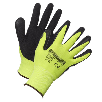 Hi-Vis Nylon Work Glove, Palm Coated with Crinkle Latex - Hi Vis Safety