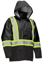 Load image into Gallery viewer, Hi Vis Safety Rain Jacket with Snap-Off Hood - Hi Vis Safety