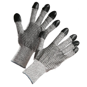 HPPE Cut Resistant Glove with Nitrile Dots on Palm & Nitrile-Dipped Finger Tips - Hi Vis Safety