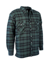 Load image into Gallery viewer, Green Plaid Quilted Flannel Shirt