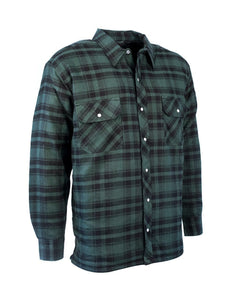 Green Plaid Quilted Flannel Shirt