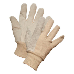 Leather Palm Work Gloves with Knit Wrist - Hi Vis Safety