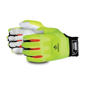 Mechanics Winter Impact-Resistant Glove Hi-viz Gloves With Goat-Grain Palms