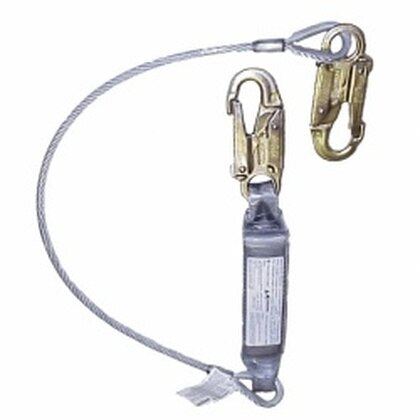 4FT PVC Coated Cable Lanyard with integrated energy absorber