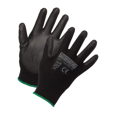 Nylon Work Glove, Polyurethane Palm Coated - Hi Vis Safety
