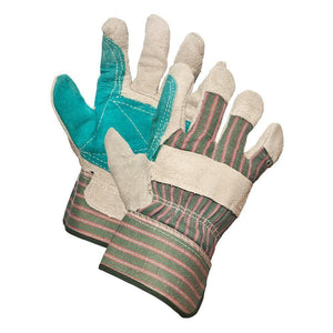 Split Leather Double Palm Work Gloves - Hi Vis Safety