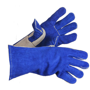 Split Leather Welding Gloves with Thumb Strap, Lined Back - Hi Vis Safety