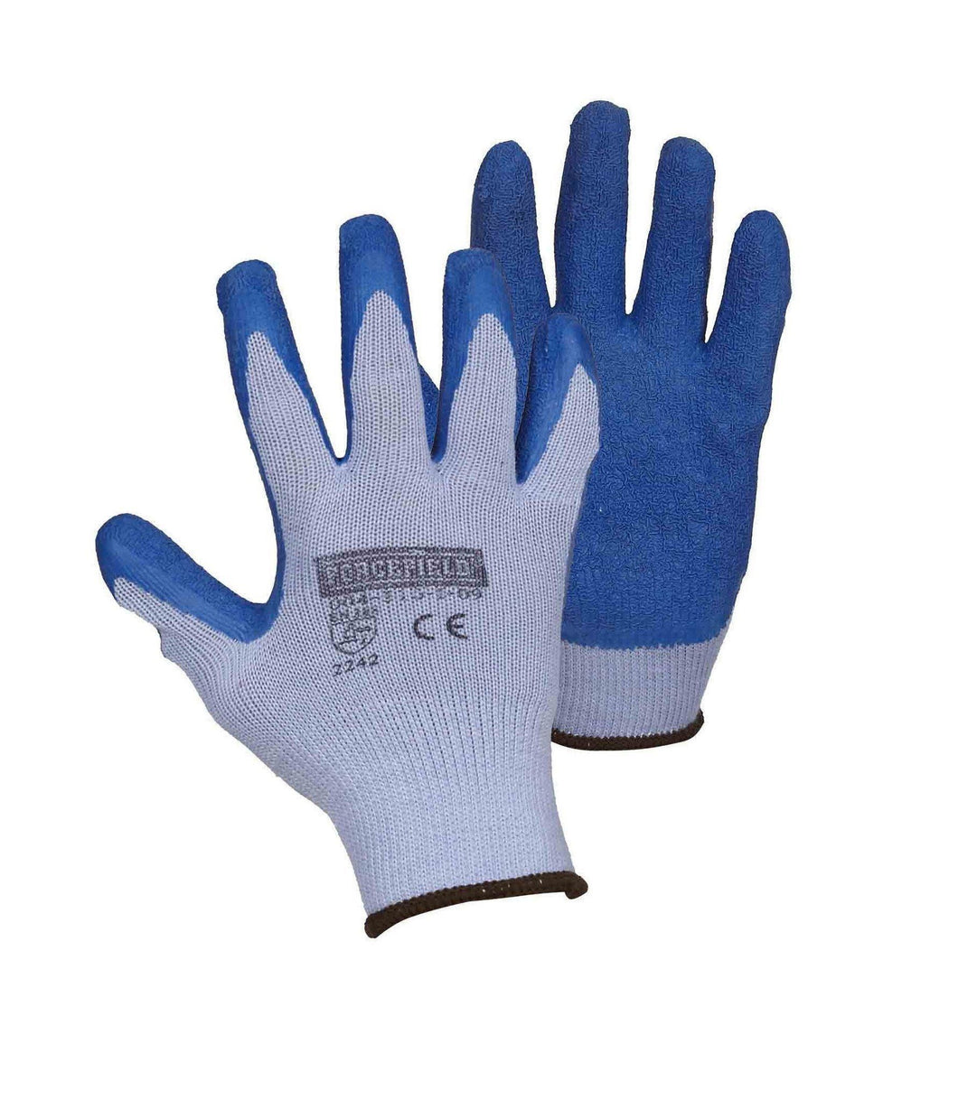 String Knit Work Gloves Palm Coated with Blue Crinkle Latex - Hi Vis Safety