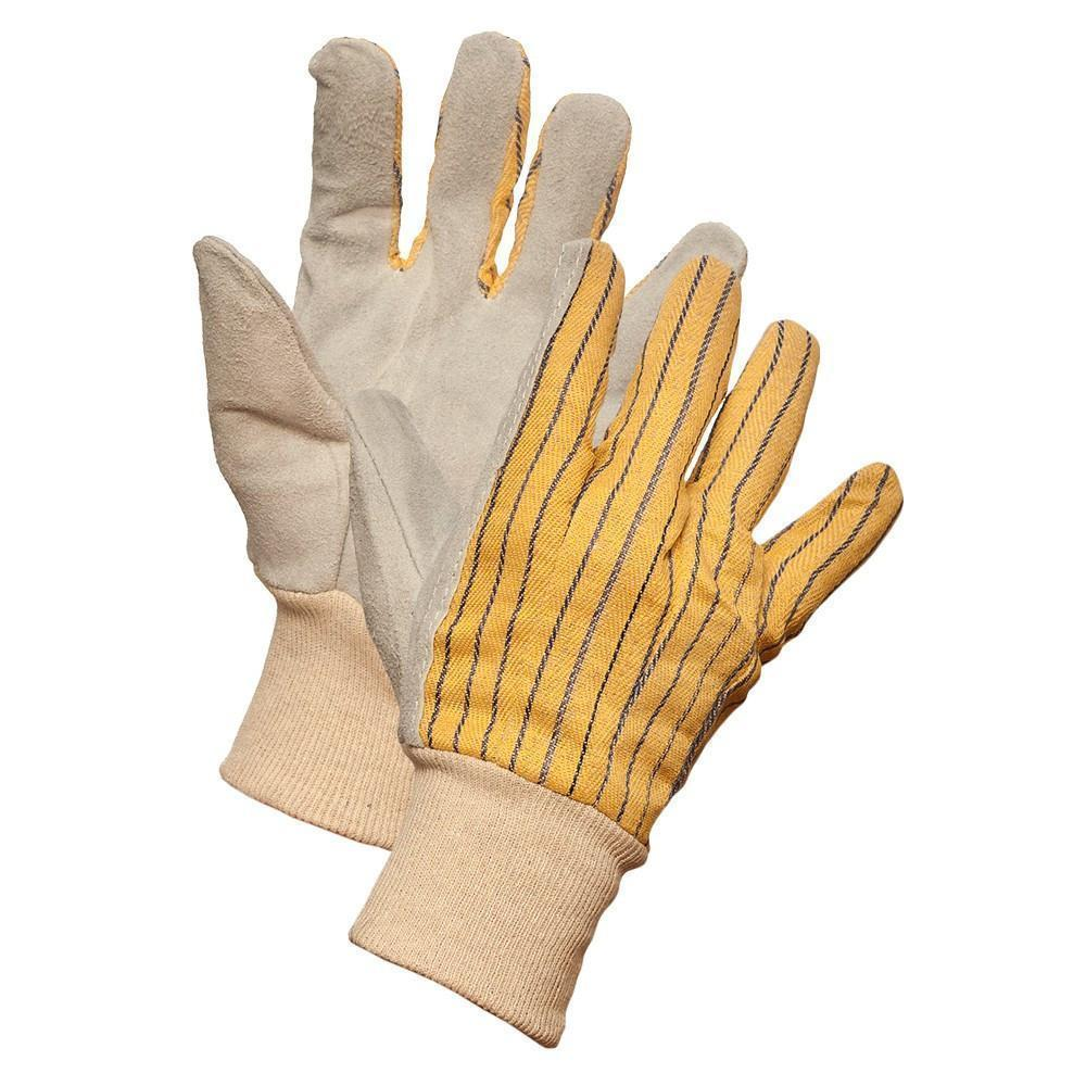 Striped Cotton Back Leather Palm Work Gloves with Knit Wrist - Hi Vis Safety