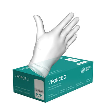 VForce 3 Vinyl Disposable Gloves (Case of 2000 Gloves) - Hi Vis Safety