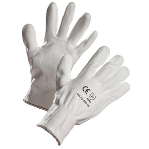 White HPPE Cut Resistant Glove, Polyurethane Palm Coated - Hi Vis Safety