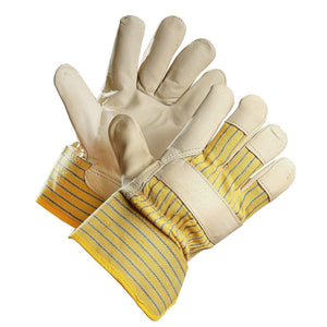 """Workaholic"" Pile Lined Grain Leather Work Glove - Hi Vis Safety"