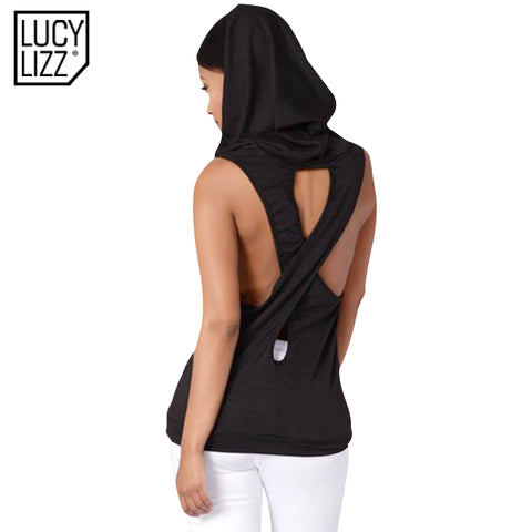 2017 Fitness Backless Cross Sport T Shirt Women Breathable Sleeveless Yoga Shirt Gym Clothes Running Sportswear Hooded Yoga Tops