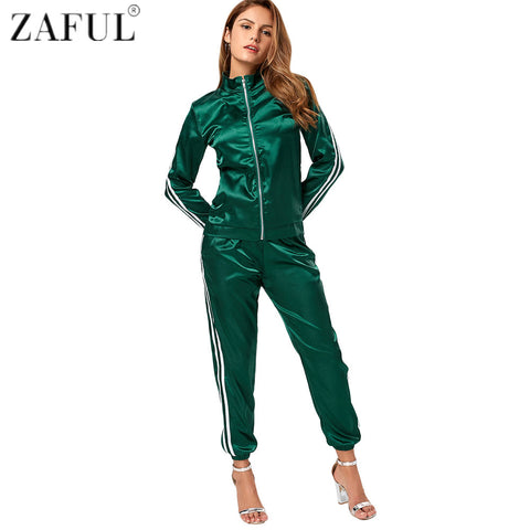 ZAFUL Women Yoga Sets Fitness Workout Clothing Gym Sportswear Running Girls Active Sports Jacket and Drawstring Pants Jogger Set