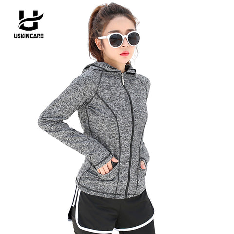 Uskincare Women Running Zipper Hooded Jackets Sports Long-sleeved Coats Fitness Yoga Workout Outerwear for Woman 4XL