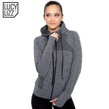 Lucylizz Women's Autumn Zipper Yoga Shirt Long Sleeve Yoga Tops Sportswear Fitness Tracksuit Running Jacket Gym Sports Clothing