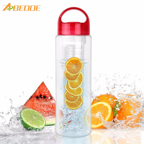 ABEDOE 700ml/25oz TRITAN Fruit Infuser Water Bottle BPA Free Outdoor Sports Travel Water Drink Shaker Bottle Garrafa