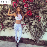 ZAFUL Sexy Mesh Sports Suits Women Yoga Sets White Fitness Elastic Gym Running Sportswear Jogging Bodybuilding Slim Tracksuit
