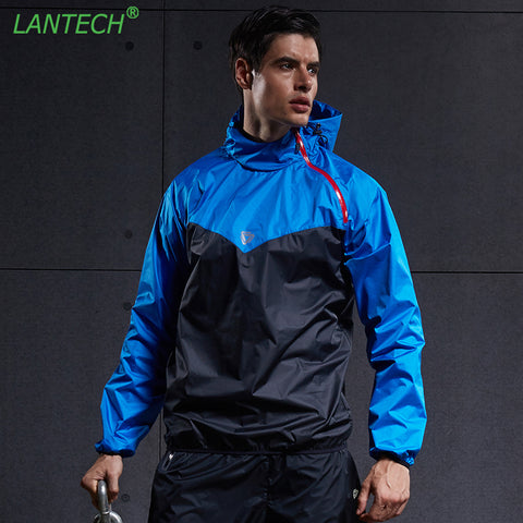 LANTECH Men Hot Sweat Jacket Running Jacket Jogging Sports Sportswear Training Fitness Exercise Gym Jacket Clothes Long Sleeve