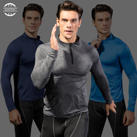 Yuerlian Wicking Men's Sportswear Compression Fitness Tights Running Shirt Training Long Soccer Jerseys Demix Gym Man'S T-Shirt