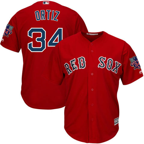 MLB Men's Boston Red Sox David Ortiz Baseball Red Alternate Cool Base Jersey with Retirement Patch