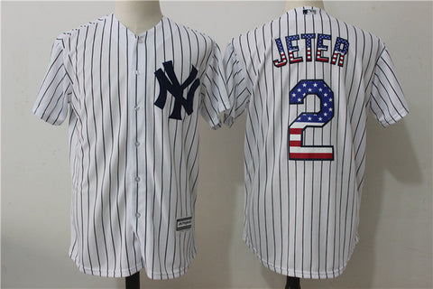 MLB Men's New York Yankees 2 # JETER Flag version Player Jersey, Baseball Jersey MLB Jersey Free Shipping