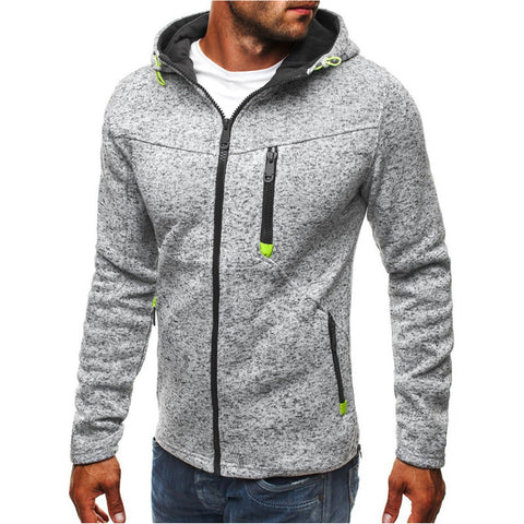 Men's Sports Hooded Jacket Long Sleeved Zipper Coat Streetwear Fitness Sweatshirt Workout Cardigan