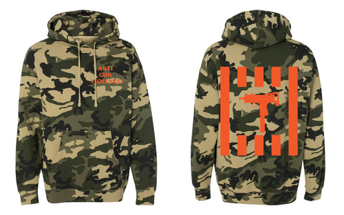 EL CAMINO EXCLUSIVE ANTI GUN VIOLENCE HOODIE 'WOODLAND' CAMO/ORANGE COLORWAY